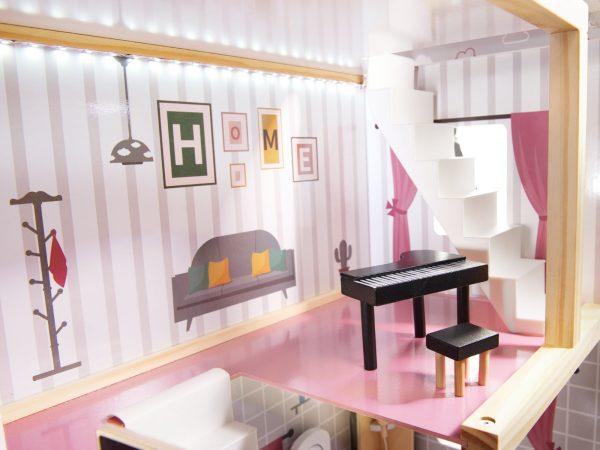 Medinė virtuvėlė su LED apšvietimu