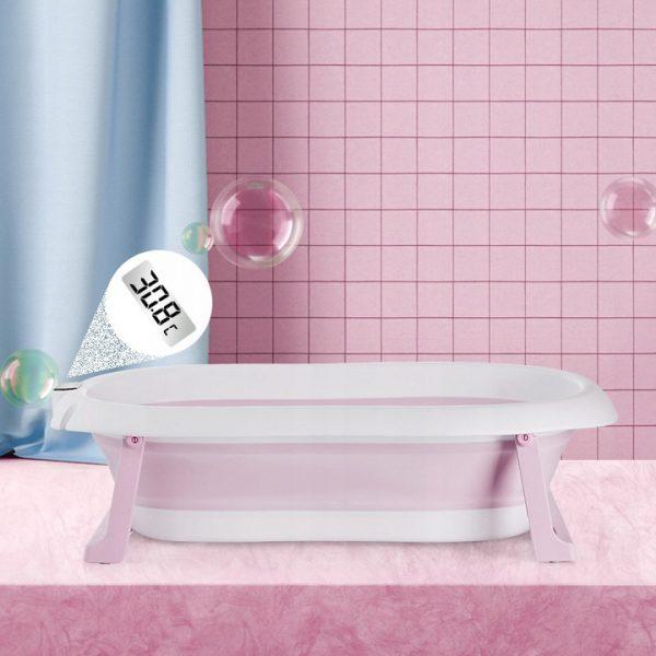 Sulankstoma vonia su elektroniniu termometru ir vonios pagalve