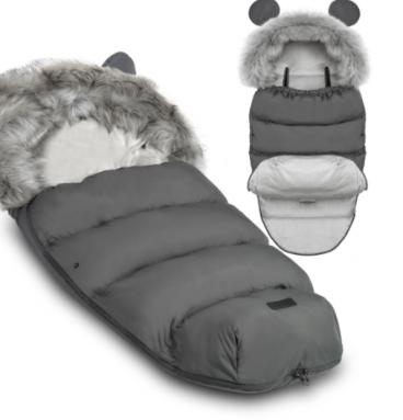 Šiltas miegmaišis vežimėliui su kailiu
